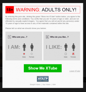 Xtube featuring website pop-up. [xtube.com]. Accessed February 1, 2016.